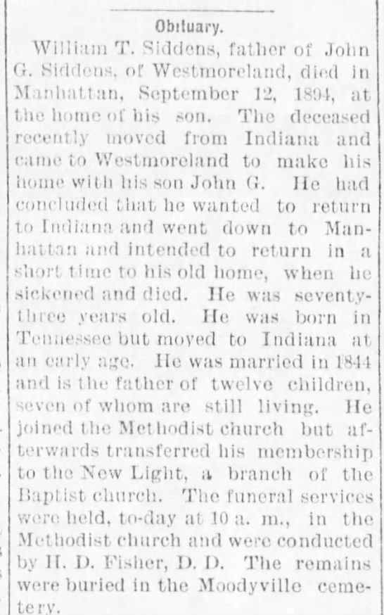 siddens - Obituary. William T. Siddens, father of John...