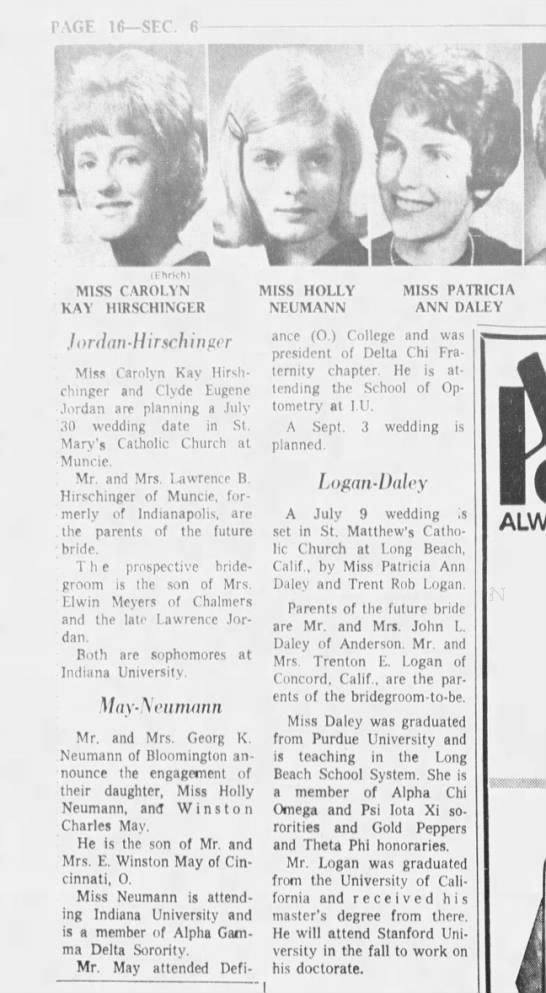 Indianapolis Star 1 May 1966 Holly Neumann - Winston May engagement - lfi sic. ti 1 I ft i V il hrihi MISS CAROLYN...