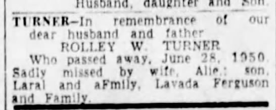 6-25-1954 Memory - Rolley W. Turner - Husband, daughterand Tl RNFR-In remembrance ol...