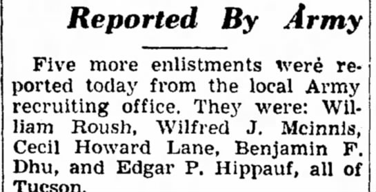 Wilfred J McInnis Army enlistment - the Reported By Army Five more enlistments were...