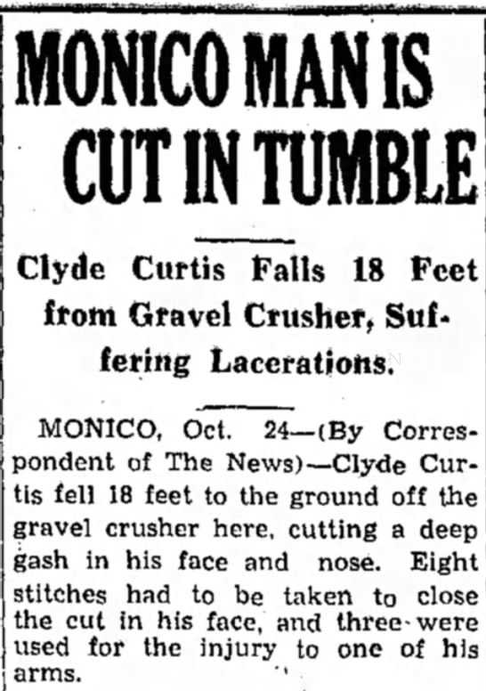 Monico Man Is Cut In Tumble; Clyde Curtis Falls 18 Feet from Gravel Crusher, Suffering Lacerations - MON1COMANIS CUTINTUMBLE Clyde Curtis Palis 18...