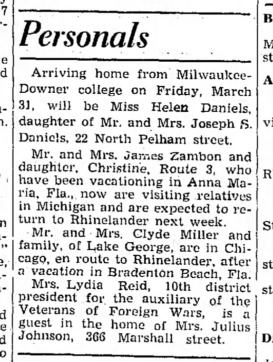 Florida/Michigan - Personals Arriving home from Milwaukee- Downer...