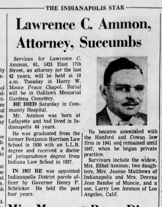 Lawrence Ammon - THE INDIANAPOLIS STAR of a at at Lawence C....