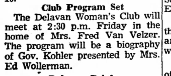 - Club Program Set The Delavan Woman's Club will...