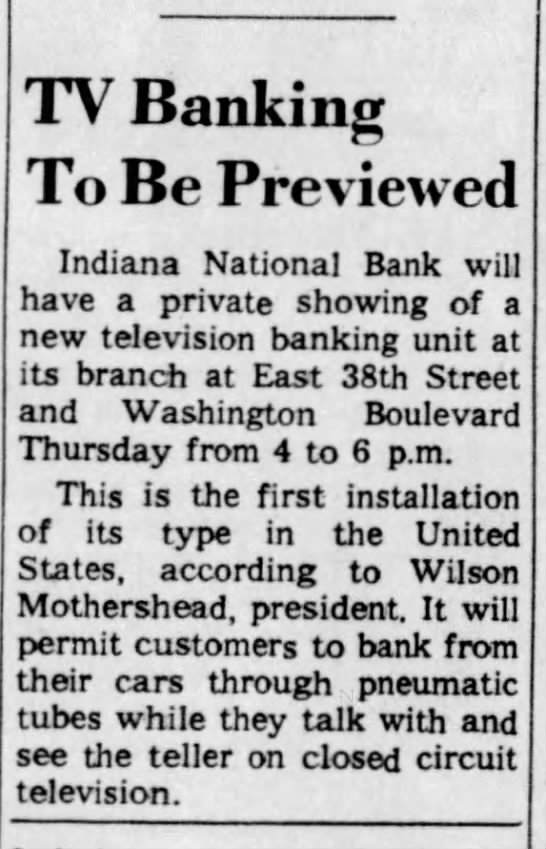 - TV Banking To Be Previewed Indiana National...