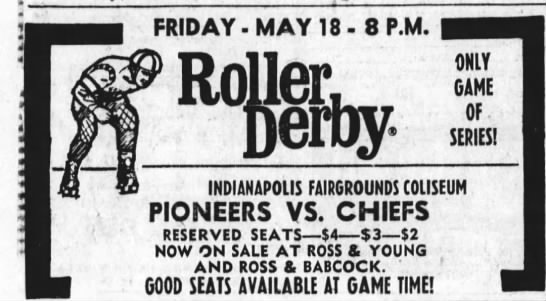 05-18-73 Indianapolis, IN - FRIDAY MAY 18-8 18-8 18-8 P.M. C Derby. ONLY...