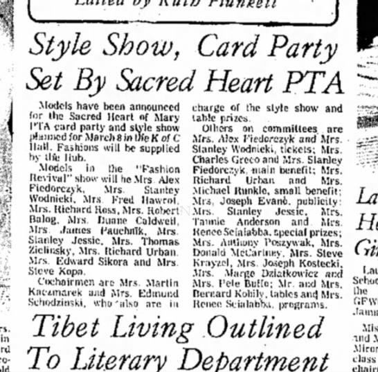 - Style Show, Card Party Set By Sacred Heart PTA...