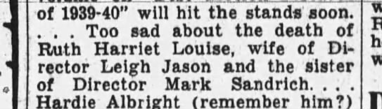 """Ruth Harriet Louise's death. - J of 1939-40"""" 1939-40"""" 1939-40"""" will hit the..."""