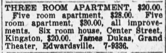 Apt for rent 1942 - THREE ROOM APARTMENT. $20.00. Five room...