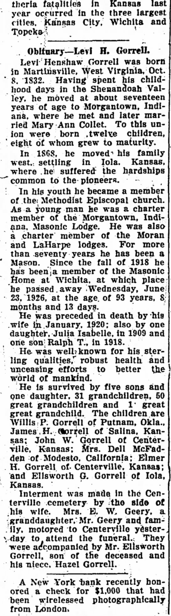 Levi H. Gorrell Obituary Iola Register 26 June 1926 Page 6 Col 1