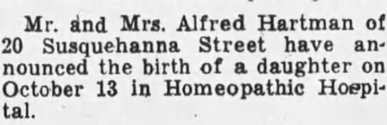 Birth Announcement for Diane Hartman Nixon - Mr. and Mrs. Alfred Hartman of 20 Susquehanna...