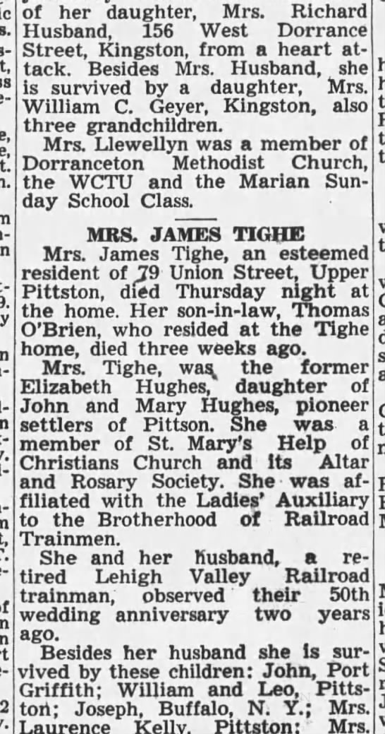 Mrs James  (Elizabeth Hughes) obit - Wat-kins 9. Con- of her daughter, Mrs. Kichard...