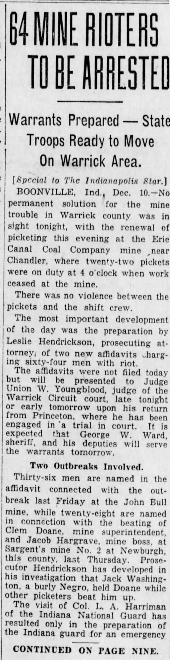 The Indianapolis Star (Indianapolis, Indiana) 11 Dec 1929, Wed Page1 - T Warrants Prepared State Troops Ready to Move...