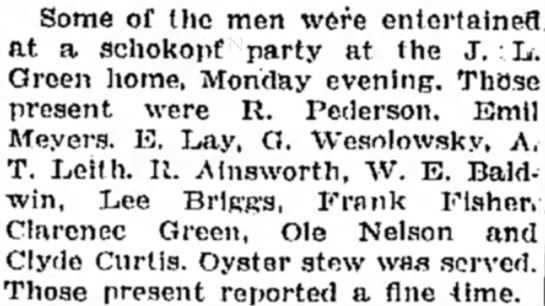 Monico; Clyde Curtis and others entertained at a schokopf party - Some of the men were entertained at a Schokopf...
