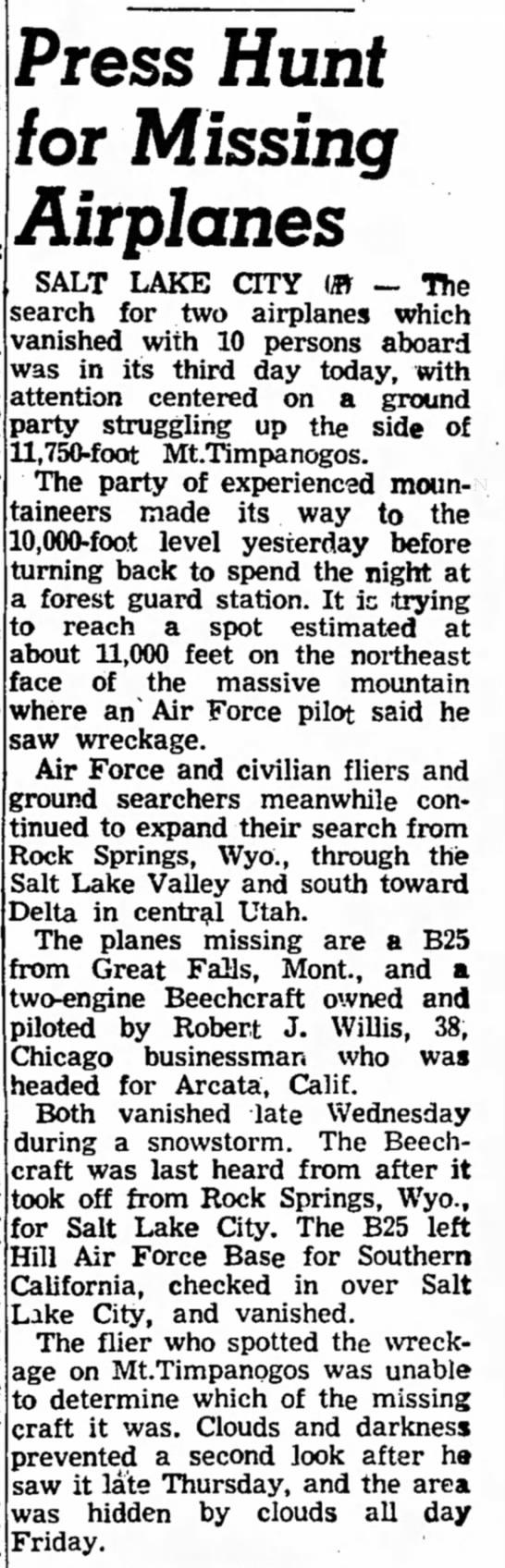 - S Press Hunt for Missing Airplanes SALT LAKE...
