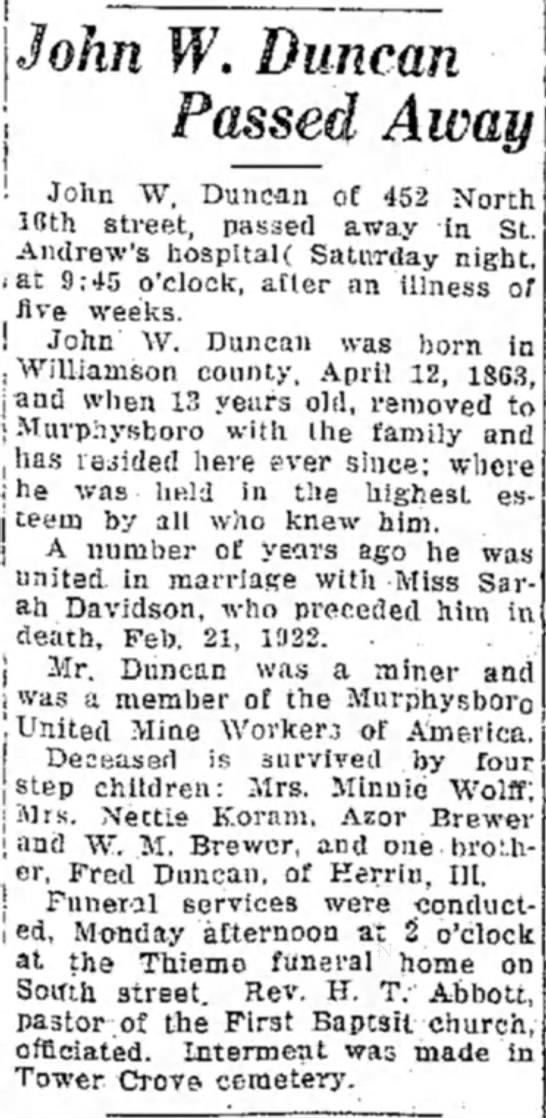 John W Duncan Obituary - — John W, Duncan of 452 North 18th street,...