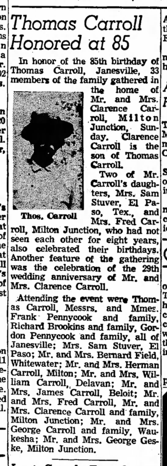 Thomas Carroll - 85th Birthday