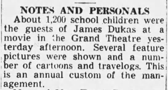 """Grand Theatre show fir kids 1949 - r.day afterno0""""- afterno0""""- Several feature rS..."""