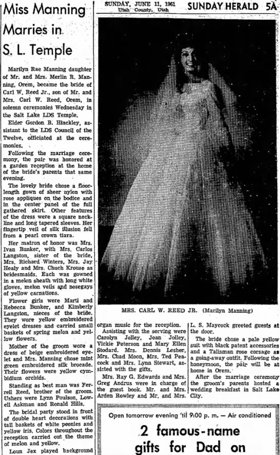 Marriage of Marilyn Manning and Carl Reed described in Provo Daily Herald on 11 Jun 1961.