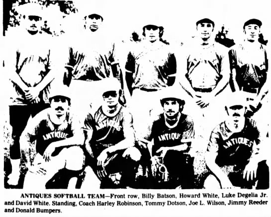 - ANTIQUES SOFTBALL TEAM-Front row, Billy Batson,...