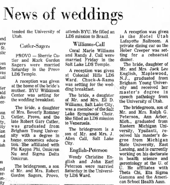 TheSaltLakeTribune; 27 June 1976 Sherrie Cutler wedding - News of weddings to St. was son D. a and tended...