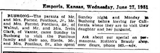 Well Forrest, obviously this is a popular name ..................... - Emporla* Kansas, Wednesday, June 27, 1951...