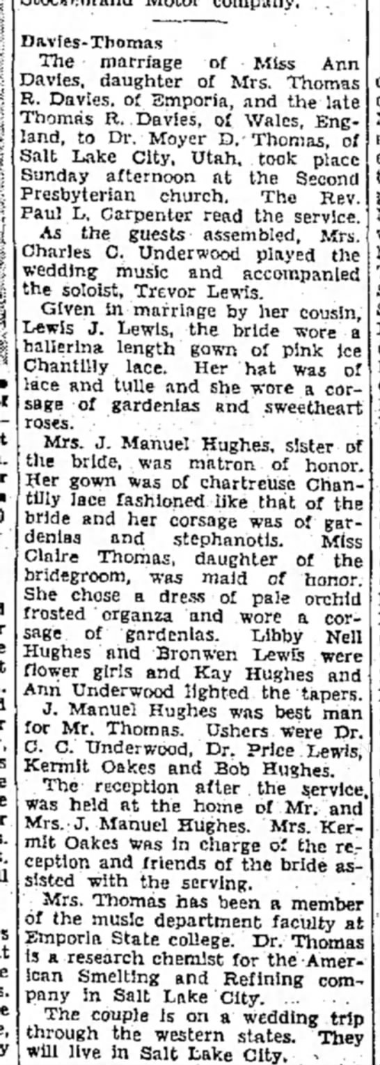 Anne Davies Wedding Announcement 27 Jun 1951