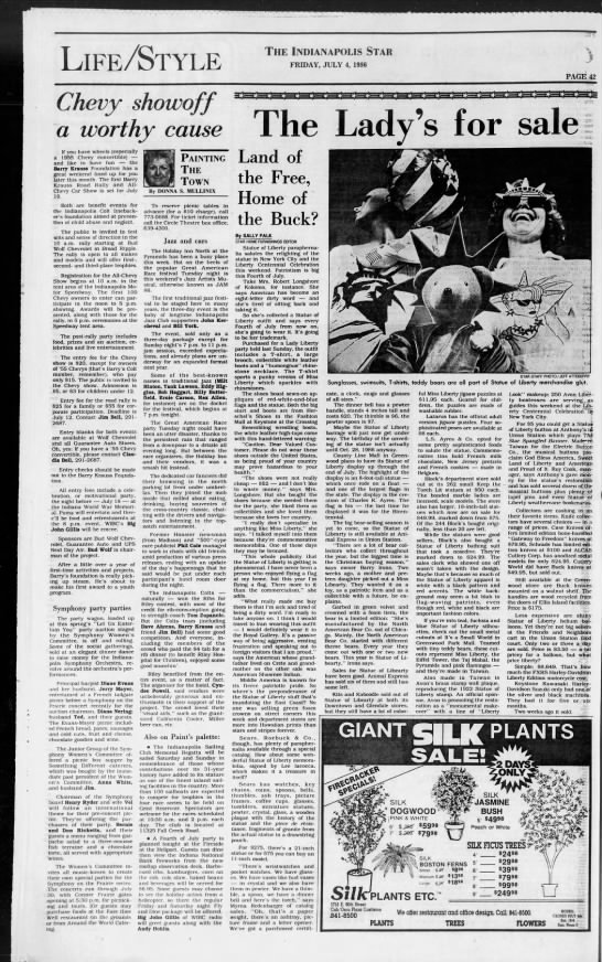 Alcas - Statue of Liberty Knife - 1986 - Full Page - LifeStyle The Indianapolis Star FRIDAY, JULY 4,...