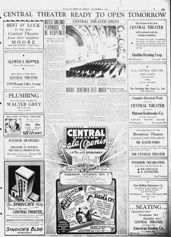 Full page spread on opening of Central Theatre in Oakland, California, Nov 1933 at 1450 Broadway