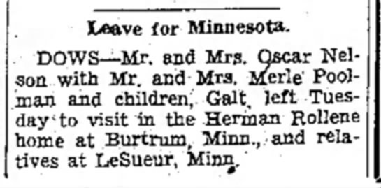 Herman Rollene - Leave for Minnesota. DOWS—Mr. and Mrs. Oscar...