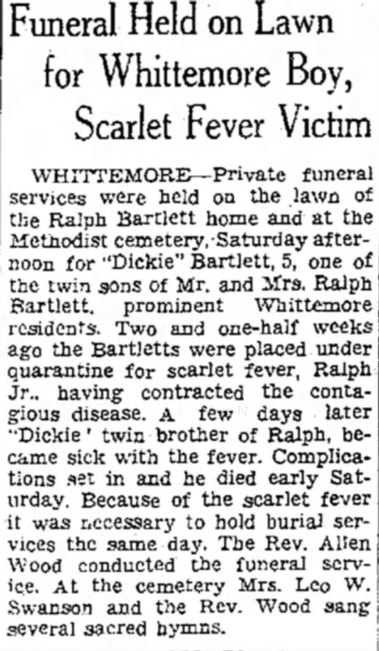 Dickie's Funeral, Mason City Globe Gazette, 11/17/1936 - Funeral Held on Lawn for Whittemore Boy,...