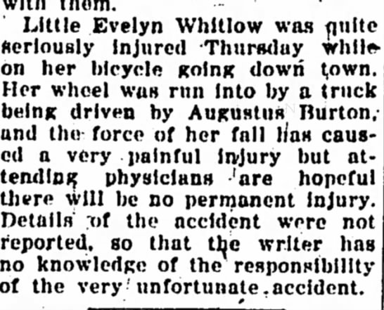 Evelyn Whitlow Injured - The Iola Register 28 Aug 1926 Page 5 - Little Evelyn Whitlow was finite fterloualy...