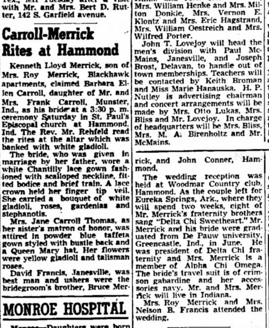 Kenneth Merrick 31 Aug 1948 Janesville, Wi - with Mr. and Mrs. Bert D. Rutter, Rutter, 142...