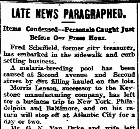 Morris Lenson on business trip- 24 July 1906 - the UTE NEWS PARAGRAPHED. Itenc...