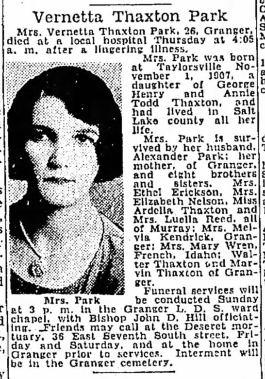 Vernetta Thaxton Park obituary - Vernetta Thaxton Park Mrs. Vernetta Thaxlon...