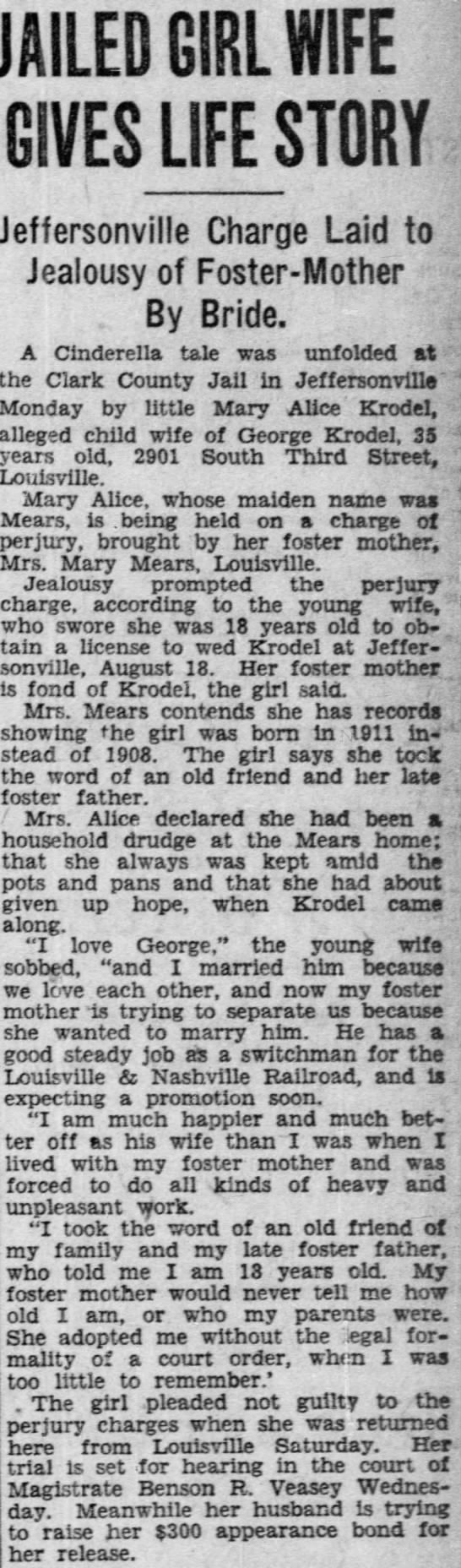 Mary Alice Mears Krodel adopted daughter of James W. and Mary Blandford Mears