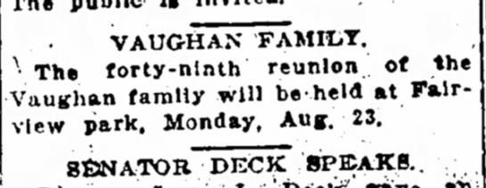 - excepting VAUGHAN FAMILT. ' The forty-ninth...