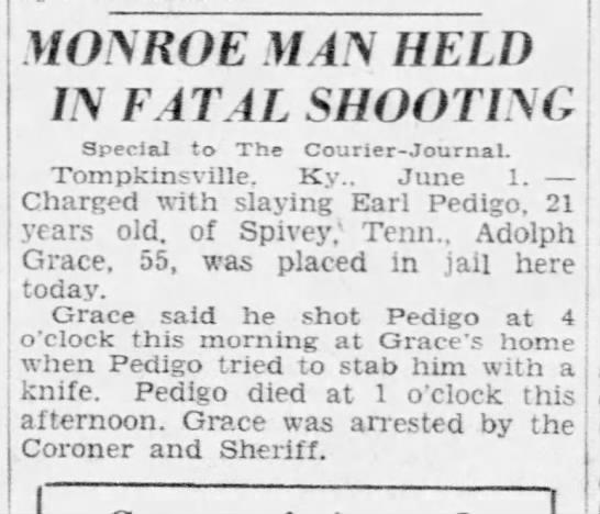 Man arrested for shooting Earl Pedigo - MONROE MAN HELD IN FATAL SHOOTING Special to...