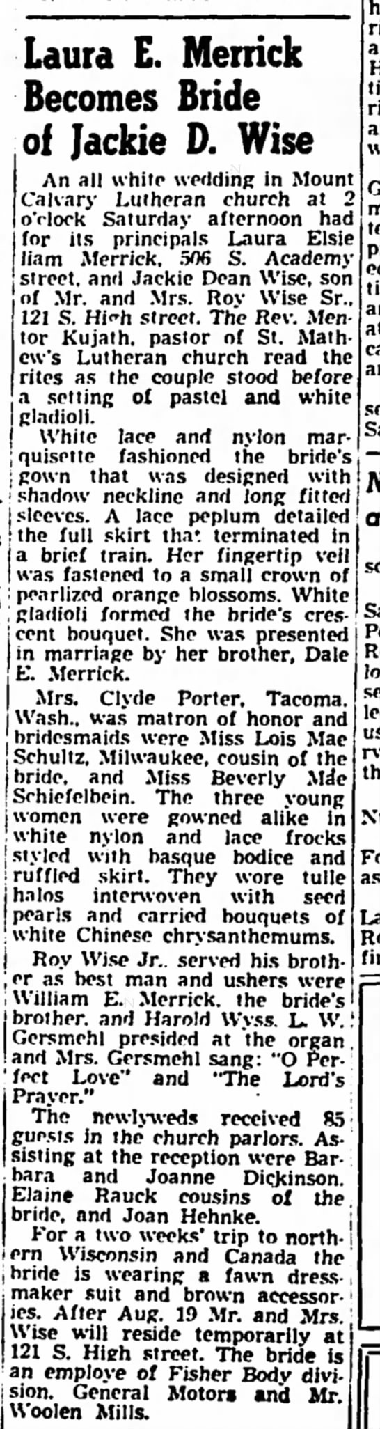 Laura E. Merrick Janesville, WI 5 Aug 1950