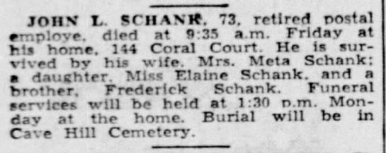 John L Schank Obituary - JOHN t. SCHANI. 73. retired postal employe,...