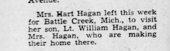 - Mrs. Hart Hagan left this week for Battle...