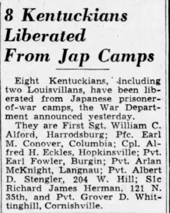 LiberatedDCo. - 8 Kentuckians Liberated From Jap Camps Eight...
