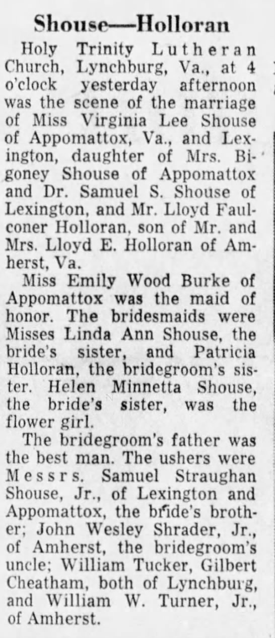 Lloyd F Holloran marriage to Virginia Lee Shouse - Shousp Holloran Holy Trinity Lutheran Church,...