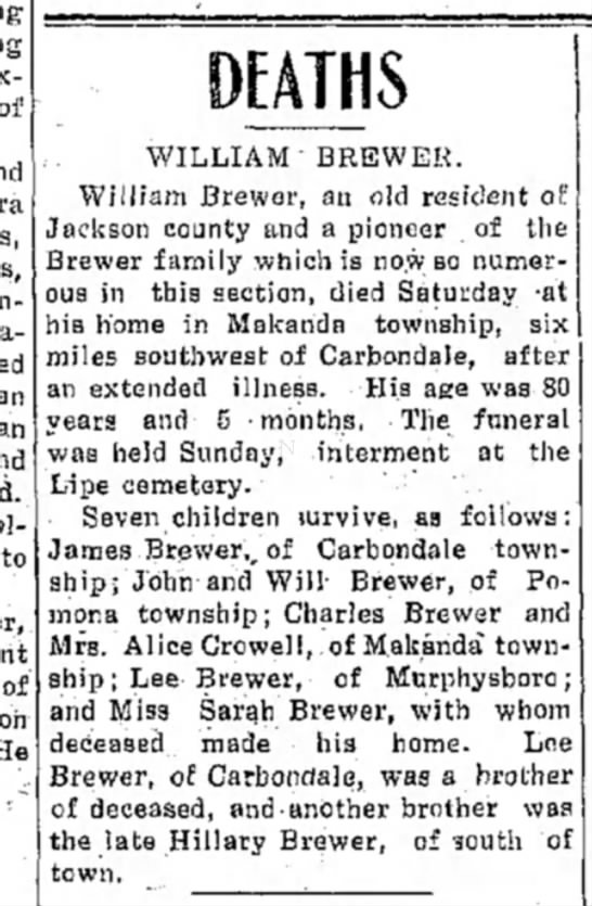 William Brewer Obituary - fatally to of WILLIAM BREWER. William Brewer,...