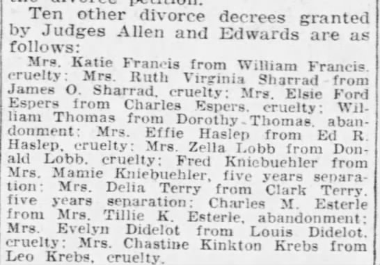Great Grandmother Elsie divorce granted from Charles Esper - Ten other divorce decrees granted by Judges...