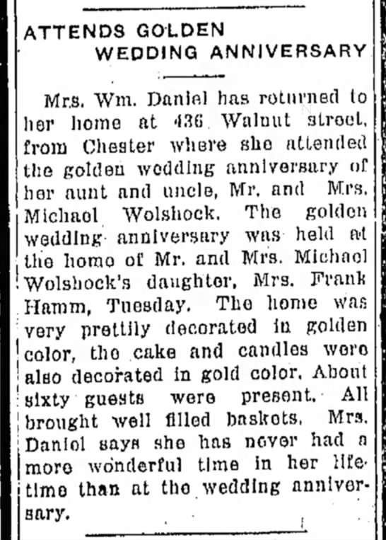 Michael Wolshock golden wedding 1/15/1926