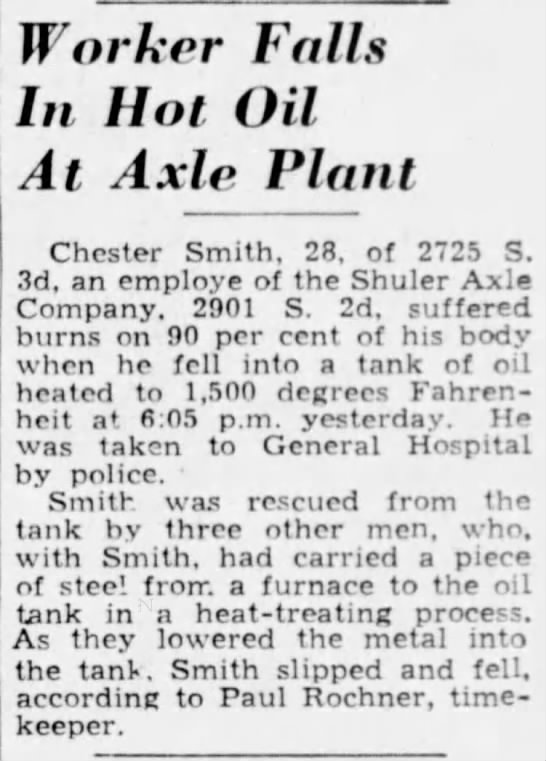 Chester Smith Death - Article - Worker Falls In Hot Oil At Axle Plant Chester...