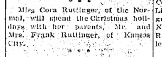 Cora Ruttinger17Dec1910Xmas with Frank/Mary; Parents; KC Kansas