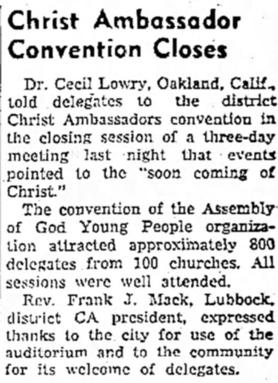 Big Spring Daily Herald CA Convention 1945 - Christ Ambassador Convention Closes Dr. Cecil...