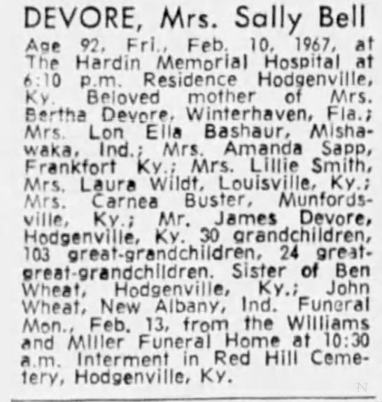 Devore, Sally Bell Wheat - DEVORE, Mrs. Sally Bell Aoe 97. Frl., Feb. 10....